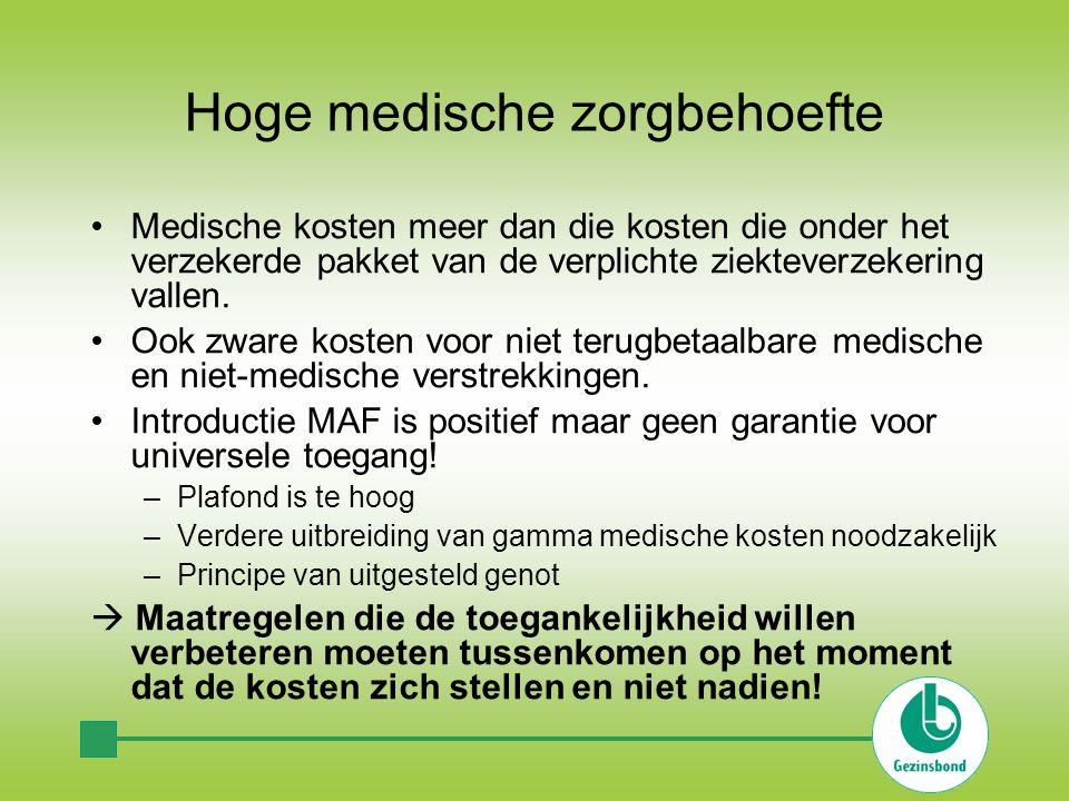 Hoge medische zorgbehoefte •Medische kosten meer dan die kosten die onder het verzekerde pakket van de verplichte ziekteverzekering vallen.