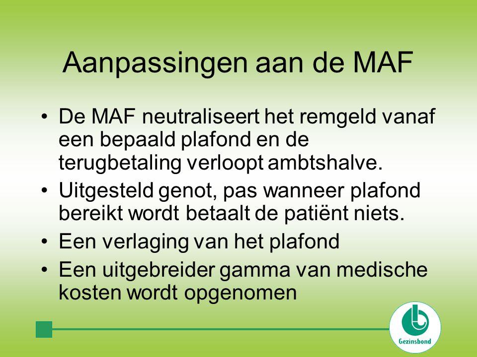 Aanpassingen aan de MAF •De MAF neutraliseert het remgeld vanaf een bepaald plafond en de terugbetaling verloopt ambtshalve.