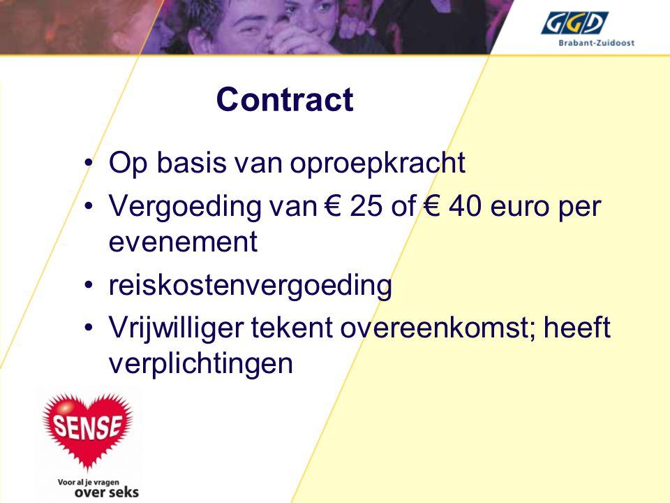 Contract •Op basis van oproepkracht •Vergoeding van € 25 of € 40 euro per evenement •reiskostenvergoeding •Vrijwilliger tekent overeenkomst; heeft ver