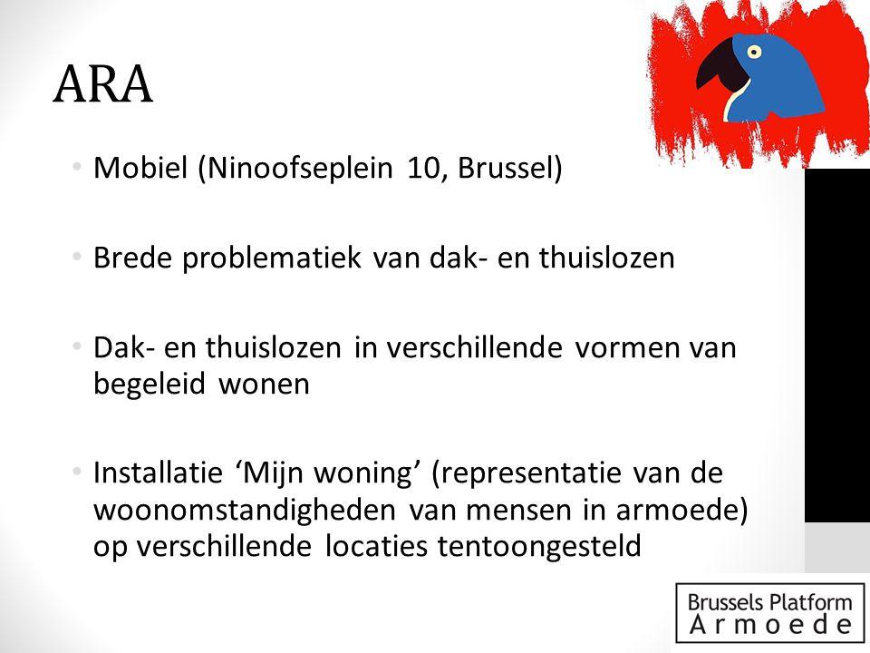 ARA • Mobiel (Ninoofseplein 10, Brussel) • Brede problematiek van dak- en thuislozen • Dak- en thuislozen in verschillende vormen van begeleid wonen • Installatie 'Mijn woning' (representatie van de woonomstandigheden van mensen in armoede) op verschillende locaties tentoongesteld