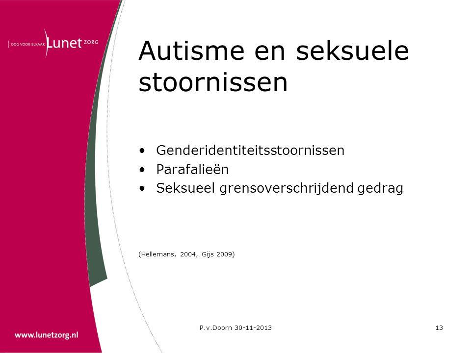 P.v.Doorn 30-11-201313 Autisme en seksuele stoornissen •Genderidentiteitsstoornissen •Parafalieën •Seksueel grensoverschrijdend gedrag (Hellemans, 200