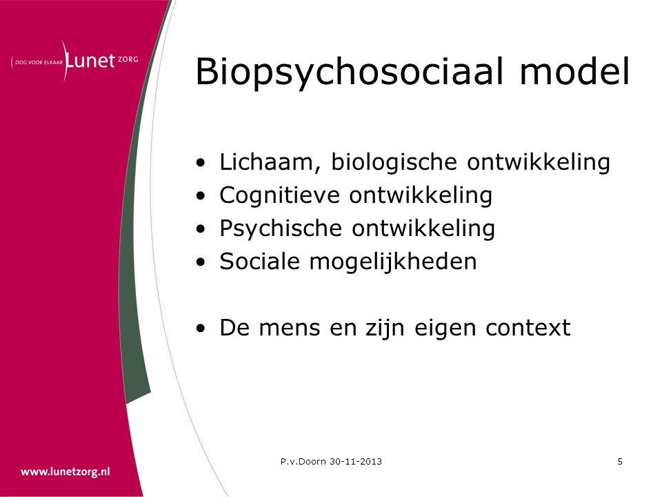 P.v.Doorn 30-11-20135 Biopsychosociaal model •Lichaam, biologische ontwikkeling •Cognitieve ontwikkeling •Psychische ontwikkeling •Sociale mogelijkhed