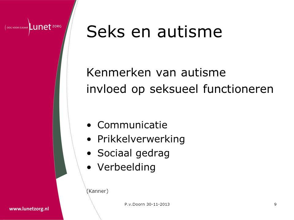 P.v.Doorn 30-11-20139 Seks en autisme Kenmerken van autisme invloed op seksueel functioneren •Communicatie •Prikkelverwerking •Sociaal gedrag •Verbeel