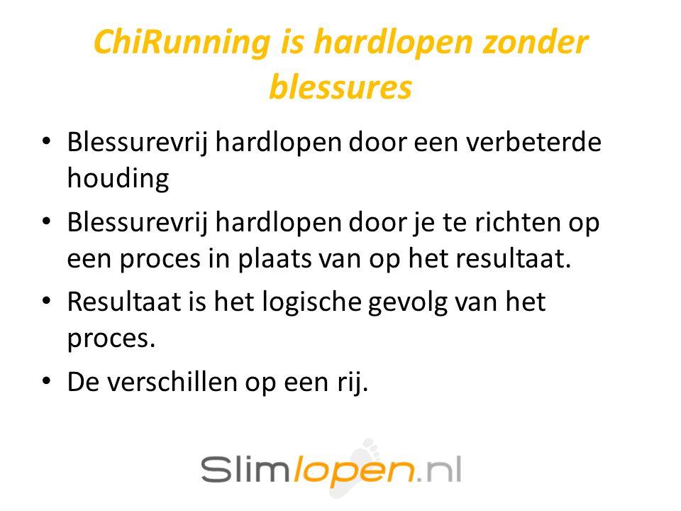ChiRunning is hardlopen zonder blessures • Blessurevrij hardlopen door een verbeterde houding • Blessurevrij hardlopen door je te richten op een proces in plaats van op het resultaat.