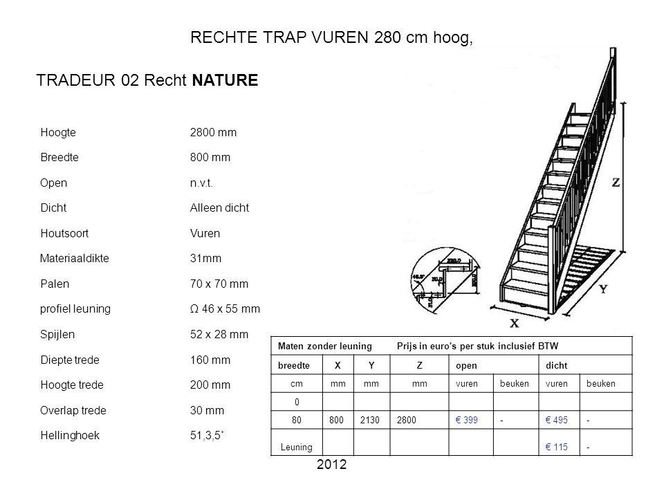 2012 RECHTE TRAP VUREN 280 cm hoog, Hoogte2800 mm Breedte800 mm Openn.v.t.