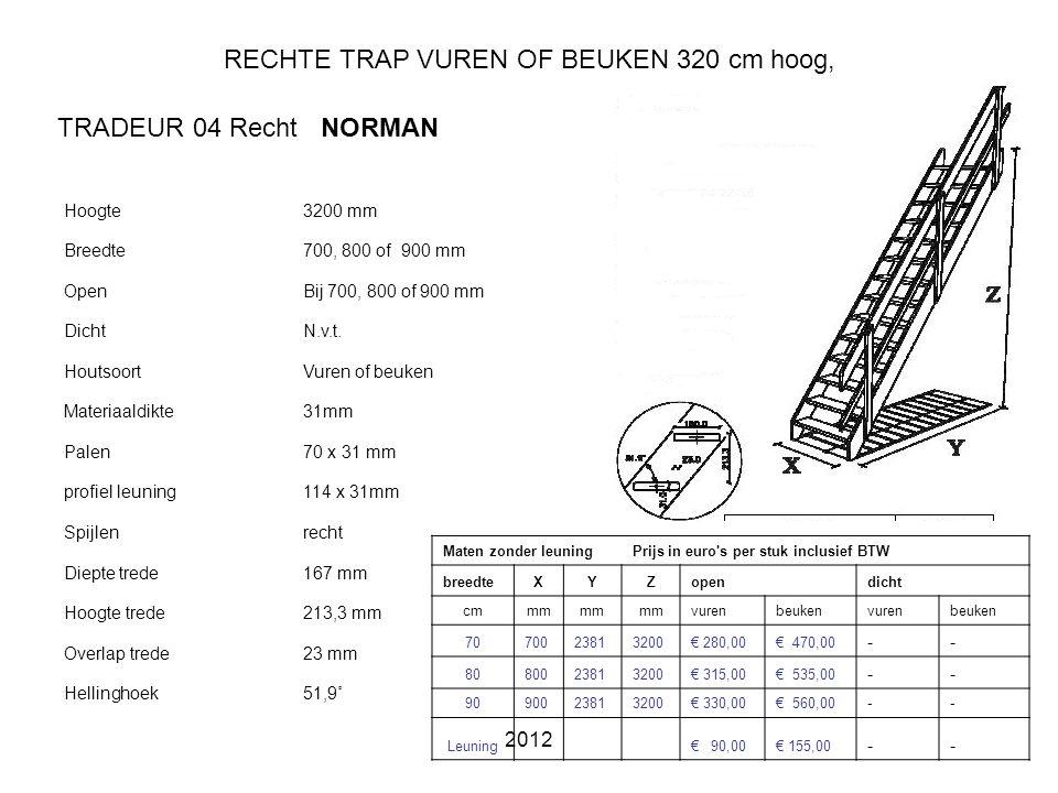 2012 RECHTE TRAP VUREN OF BEUKEN 320 cm hoog, Hoogte3200 mm Breedte700, 800 of 900 mm OpenBij 700, 800 of 900 mm DichtN.v.t.