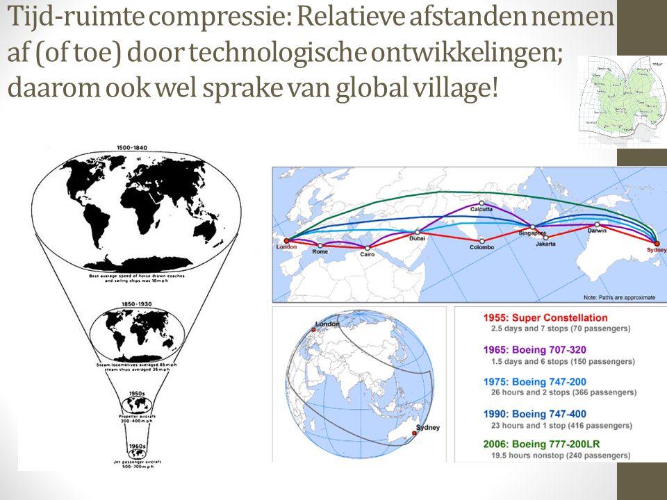 Tijd-ruimte compressie: Relatieve afstanden nemen af (of toe) door technologische ontwikkelingen; daarom ook wel sprake van global village!