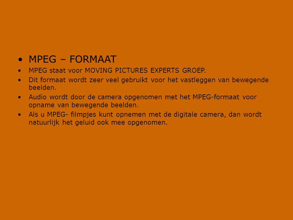 •MPEG – FORMAAT •MPEG staat voor MOVING PICTURES EXPERTS GROEP. •Dit formaat wordt zeer veel gebruikt voor het vastleggen van bewegende beelden. •Audi