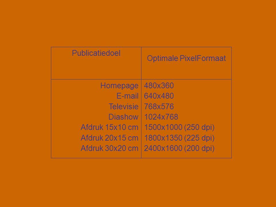 Publicatiedoel Optimale PixelFormaat Homepage E-mail Televisie Diashow Afdruk 15x10 cm Afdruk 20x15 cm Afdruk 30x20 cm 480x360 640x480 768x576 1024x76