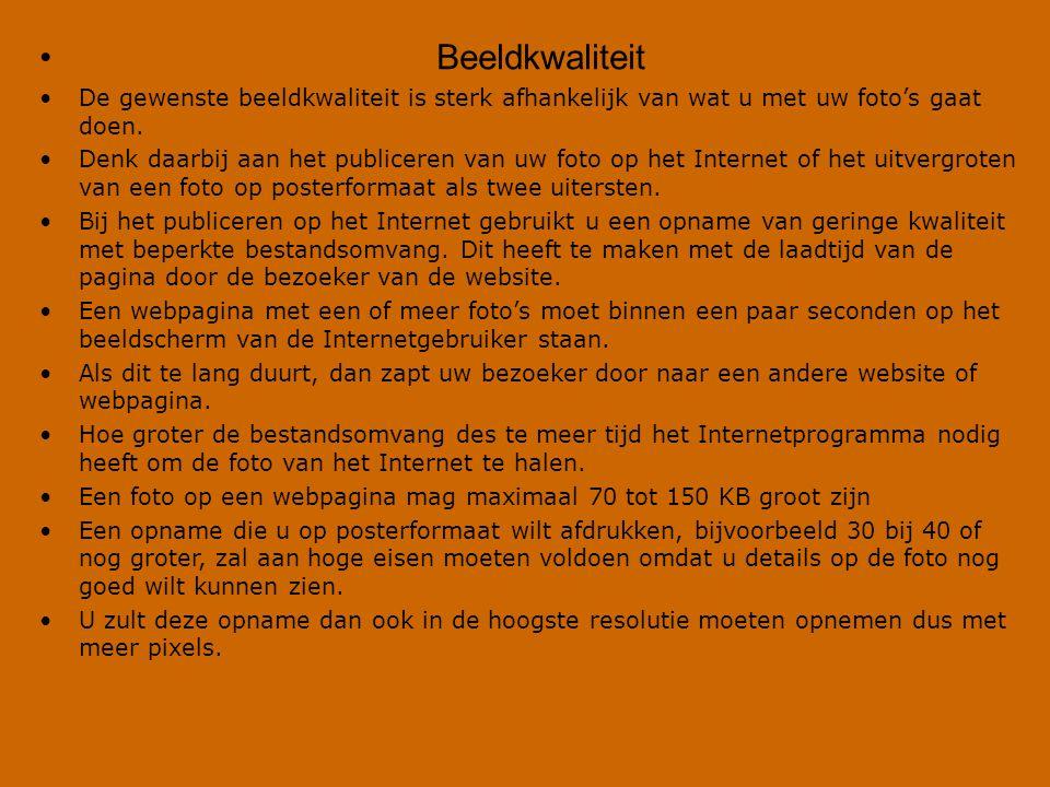 Publicatiedoel Optimale PixelFormaat Homepage E-mail Televisie Diashow Afdruk 15x10 cm Afdruk 20x15 cm Afdruk 30x20 cm 480x360 640x480 768x576 1024x768 1500x1000 (250 dpi) 1800x1350 (225 dpi) 2400x1600 (200 dpi)