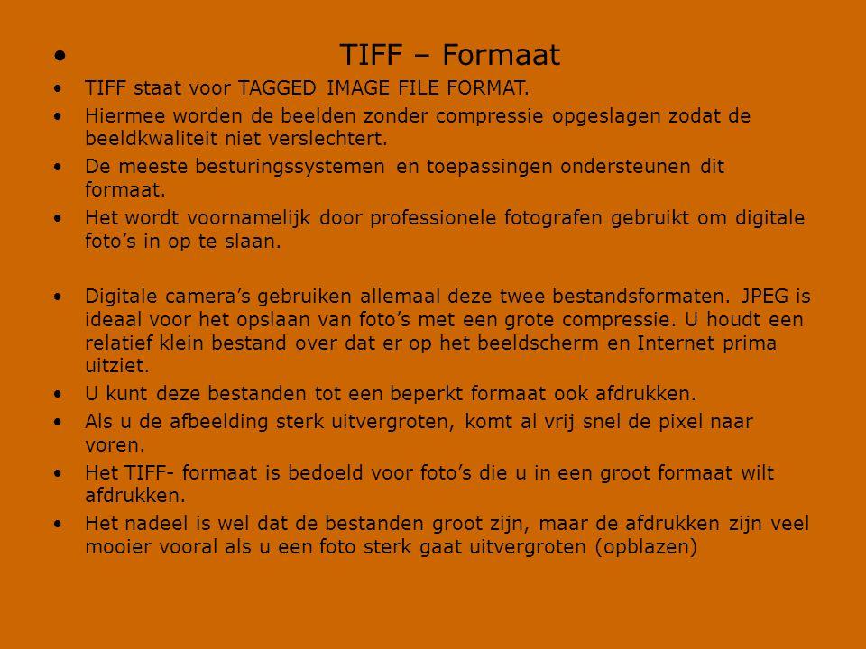 • TIFF – Formaat •TIFF staat voor TAGGED IMAGE FILE FORMAT. •Hiermee worden de beelden zonder compressie opgeslagen zodat de beeldkwaliteit niet versl