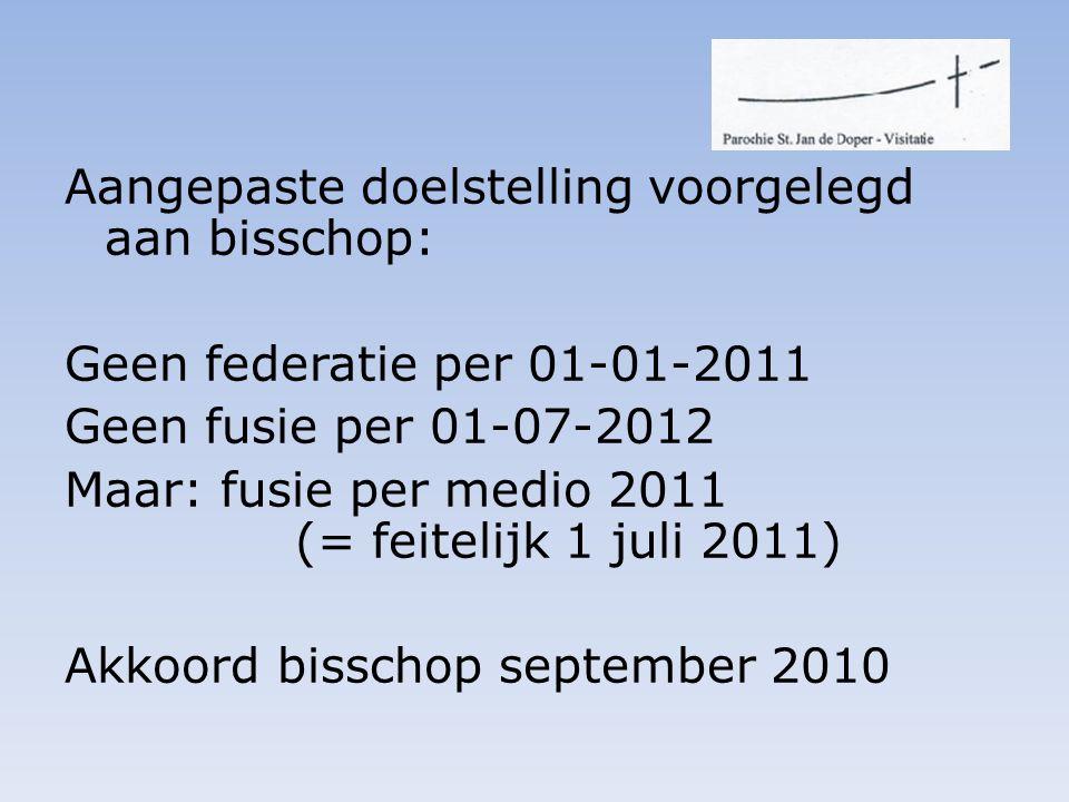 Aangepaste doelstelling voorgelegd aan bisschop: Geen federatie per 01-01-2011 Geen fusie per 01-07-2012 Maar: fusie per medio 2011 (= feitelijk 1 juli 2011) Akkoord bisschop september 2010