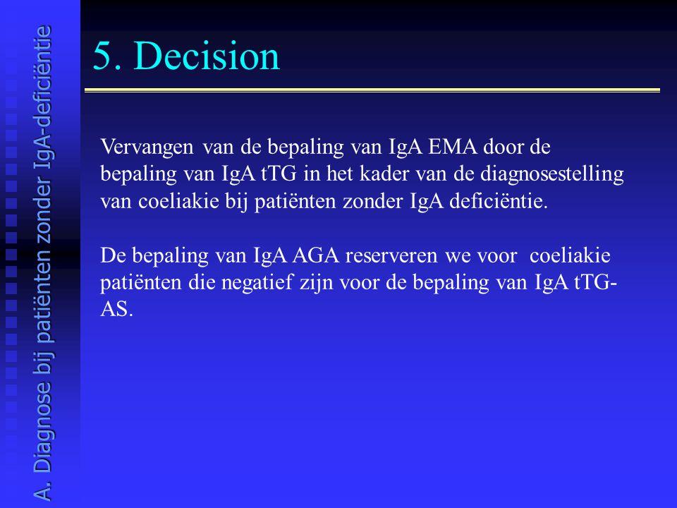 5. Decision Vervangen van de bepaling van IgA EMA door de bepaling van IgA tTG in het kader van de diagnosestelling van coeliakie bij patiënten zonder