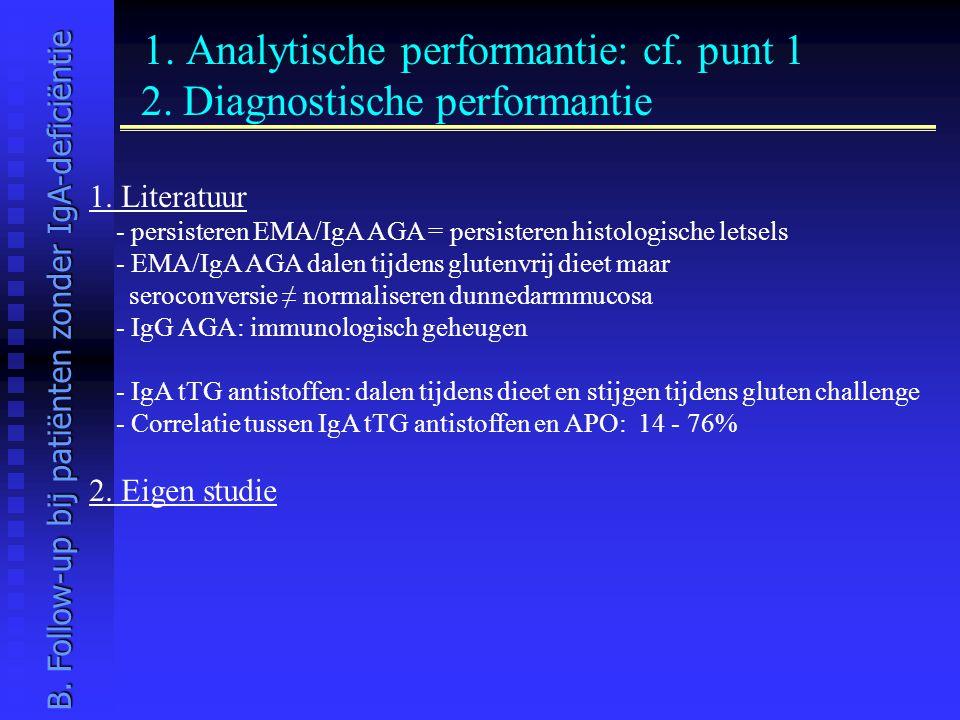 1. Analytische performantie: cf. punt 1 2. Diagnostische performantie 1. Literatuur - persisteren EMA/IgA AGA = persisteren histologische letsels - EM