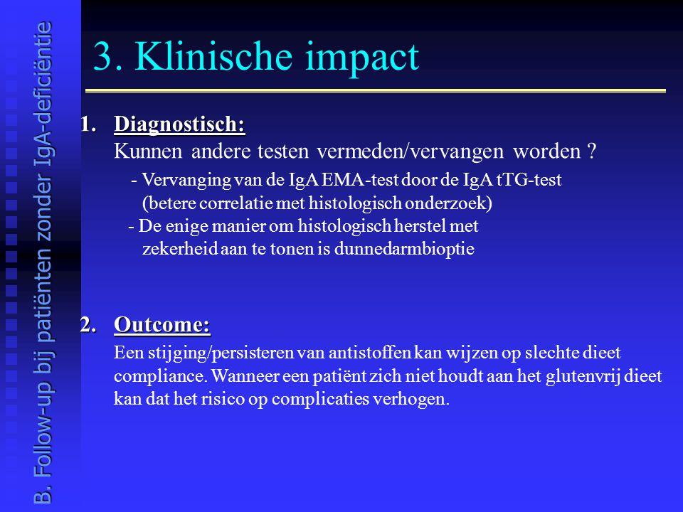 3. Klinische impact 1.Diagnostisch: Kunnen andere testen vermeden/vervangen worden ? - Vervanging van de IgA EMA-test door de IgA tTG-test (betere cor