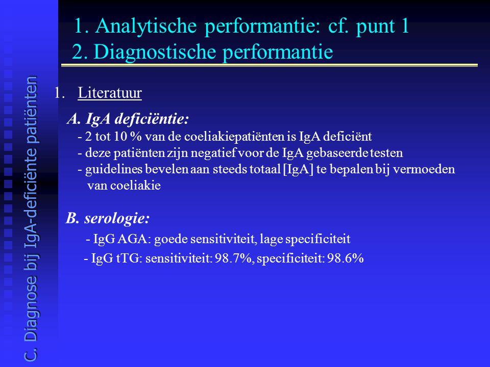 1. Analytische performantie: cf. punt 1 2. Diagnostische performantie 1.Literatuur A. IgA deficiëntie: - 2 tot 10 % van de coeliakiepatiënten is IgA d