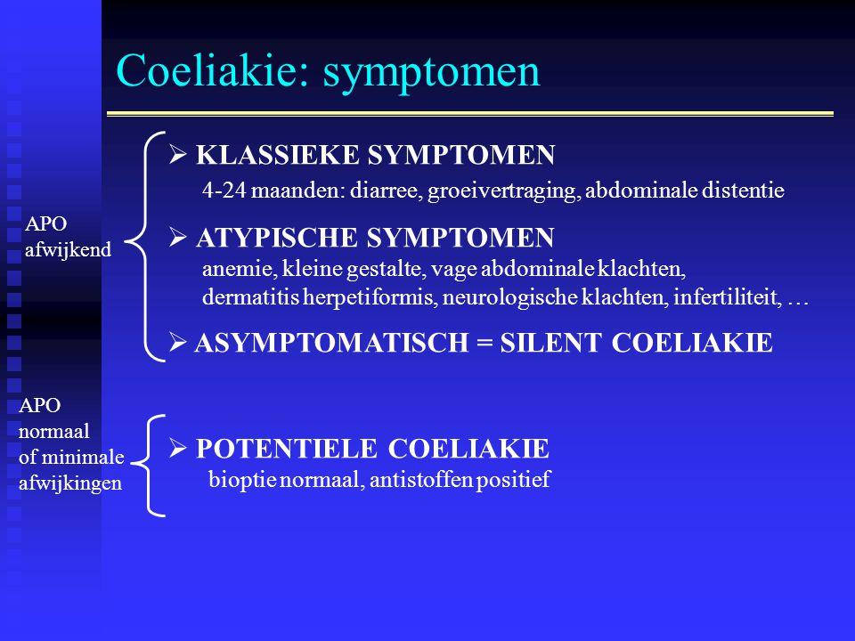 Coeliakie: symptomen  KLASSIEKE SYMPTOMEN 4-24 maanden: diarree, groeivertraging, abdominale distentie  ATYPISCHE SYMPTOMEN anemie, kleine gestalte, vage abdominale klachten, dermatitis herpetiformis, neurologische klachten, infertiliteit, …  ASYMPTOMATISCH = SILENT COELIAKIE  POTENTIELE COELIAKIE bioptie normaal, antistoffen positief APO afwijkend APO normaal of minimale afwijkingen