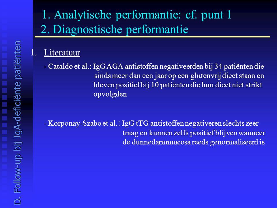 1. Analytische performantie: cf. punt 1 2. Diagnostische performantie 1.Literatuur - Cataldo et al.: IgG AGA antistoffen negativeerden bij 34 patiënte