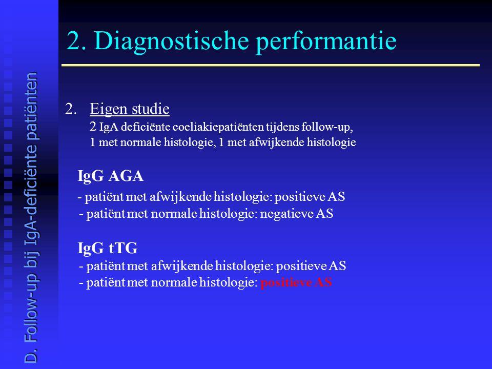 2. Diagnostische performantie 2.Eigen studie 2 IgA deficiënte coeliakiepatiënten tijdens follow-up, 1 met normale histologie, 1 met afwijkende histolo