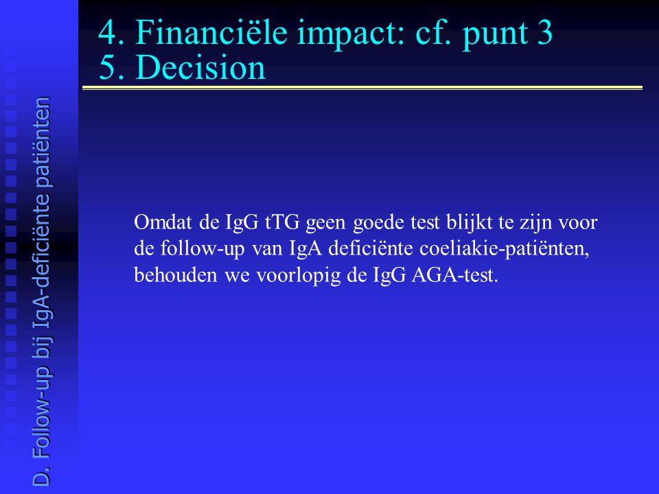 4. Financiële impact: cf. punt 3 5. Decision Omdat de IgG tTG geen goede test blijkt te zijn voor de follow-up van IgA deficiënte coeliakie-patiënten,