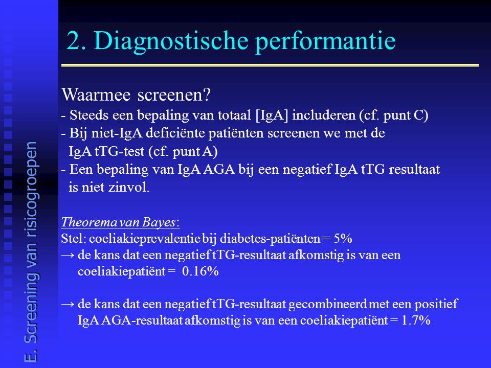 2. Diagnostische performantie Waarmee screenen? - Steeds een bepaling van totaal [IgA] includeren (cf. punt C) - Bij niet-IgA deficiënte patiënten scr