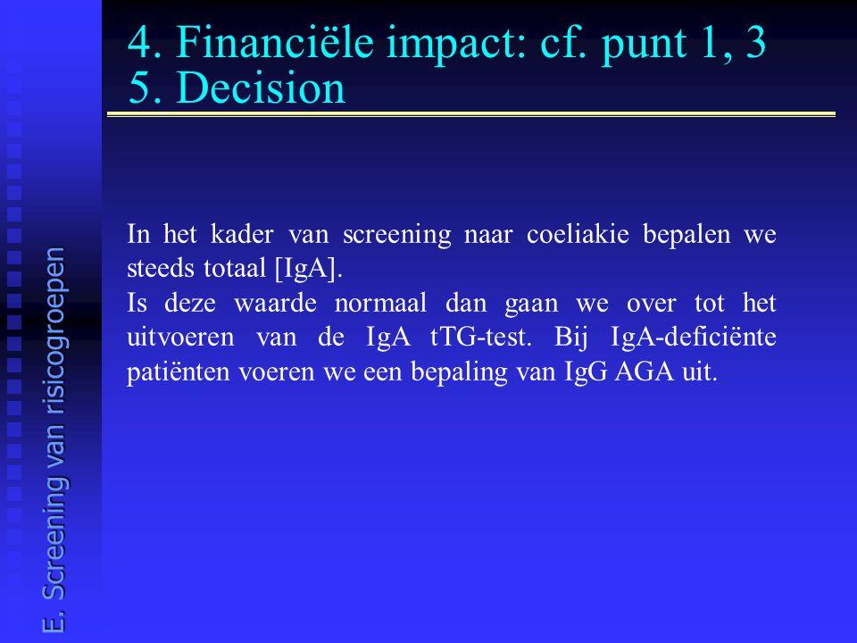 4. Financiële impact: cf. punt 1, 3 5. Decision In het kader van screening naar coeliakie bepalen we steeds totaal [IgA]. Is deze waarde normaal dan g