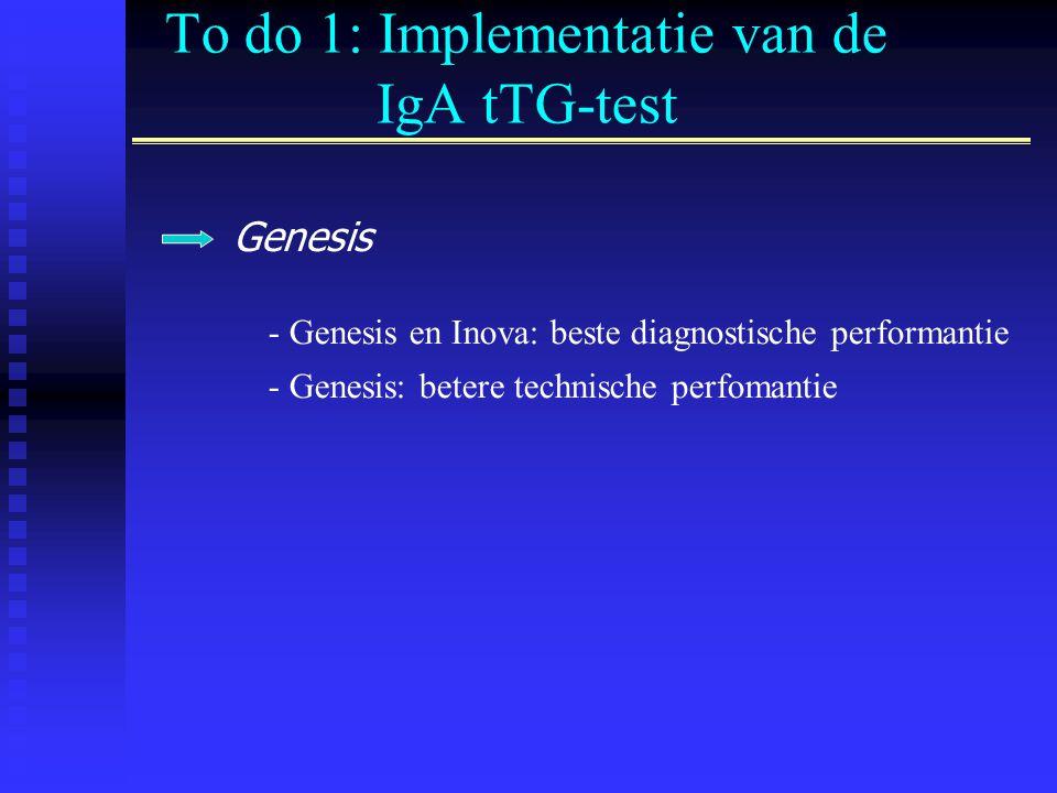 To do 1: Implementatie van de IgA tTG-test Genesis - Genesis en Inova: beste diagnostische performantie - Genesis: betere technische perfomantie
