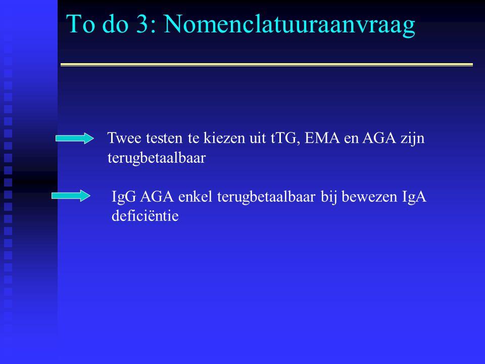 To do 3: Nomenclatuuraanvraag Twee testen te kiezen uit tTG, EMA en AGA zijn terugbetaalbaar IgG AGA enkel terugbetaalbaar bij bewezen IgA deficiëntie