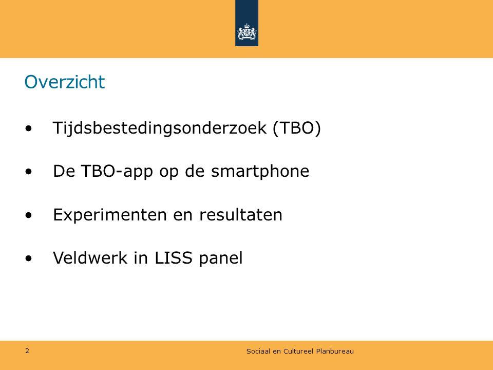 Overzicht •Tijdsbestedingsonderzoek (TBO) •De TBO-app op de smartphone •Experimenten en resultaten •Veldwerk in LISS panel Sociaal en Cultureel Planbu