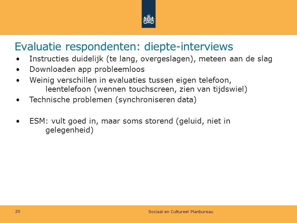 Evaluatie respondenten: diepte-interviews • Instructies duidelijk (te lang, overgeslagen), meteen aan de slag • Downloaden app probleemloos • Weinig v