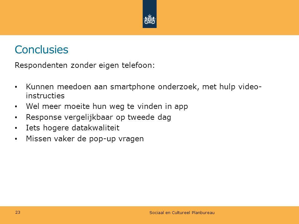 Conclusies Respondenten zonder eigen telefoon: • Kunnen meedoen aan smartphone onderzoek, met hulp video- instructies • Wel meer moeite hun weg te vin