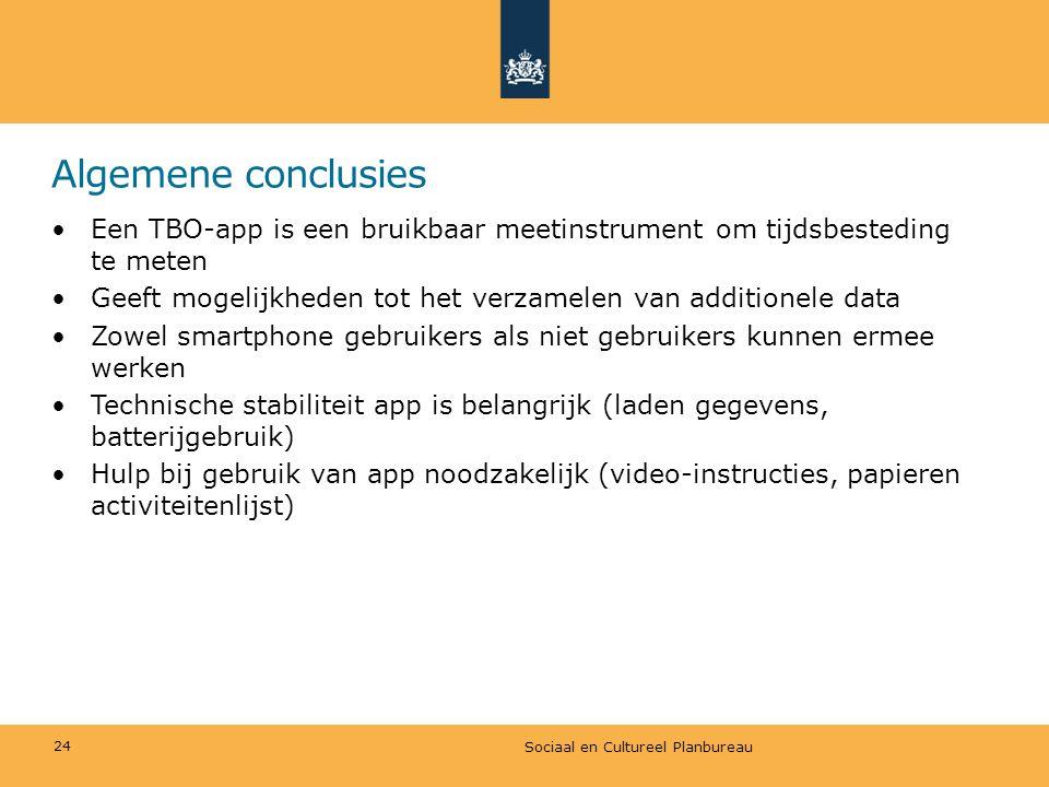 Algemene conclusies •Een TBO-app is een bruikbaar meetinstrument om tijdsbesteding te meten •Geeft mogelijkheden tot het verzamelen van additionele da