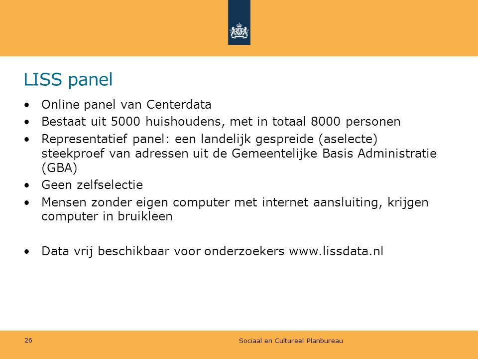 LISS panel •Online panel van Centerdata •Bestaat uit 5000 huishoudens, met in totaal 8000 personen •Representatief panel: een landelijk gespreide (ase