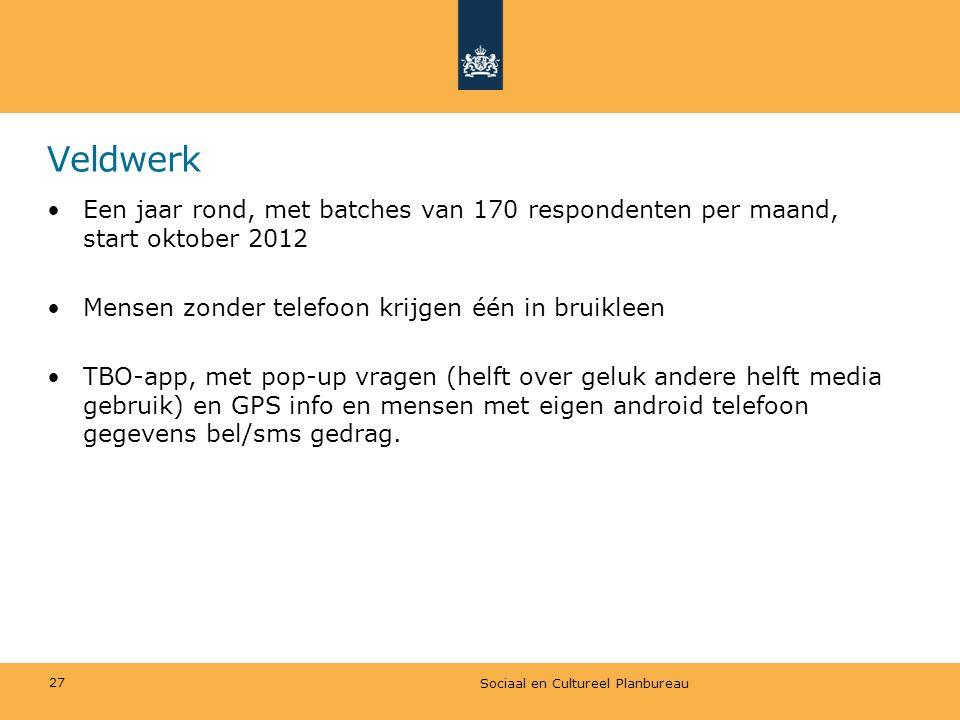 Veldwerk •Een jaar rond, met batches van 170 respondenten per maand, start oktober 2012 •Mensen zonder telefoon krijgen één in bruikleen •TBO-app, met