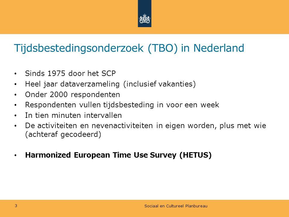 Tijdsbestedingsonderzoek (TBO) in Nederland • Sinds 1975 door het SCP • Heel jaar dataverzameling (inclusief vakanties) • Onder 2000 respondenten • Re