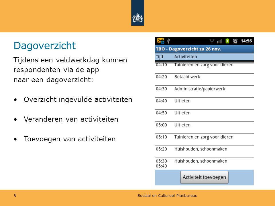 Dagoverzicht Tijdens een veldwerkdag kunnen respondenten via de app naar een dagoverzicht: •Overzicht ingevulde activiteiten •Veranderen van activitei