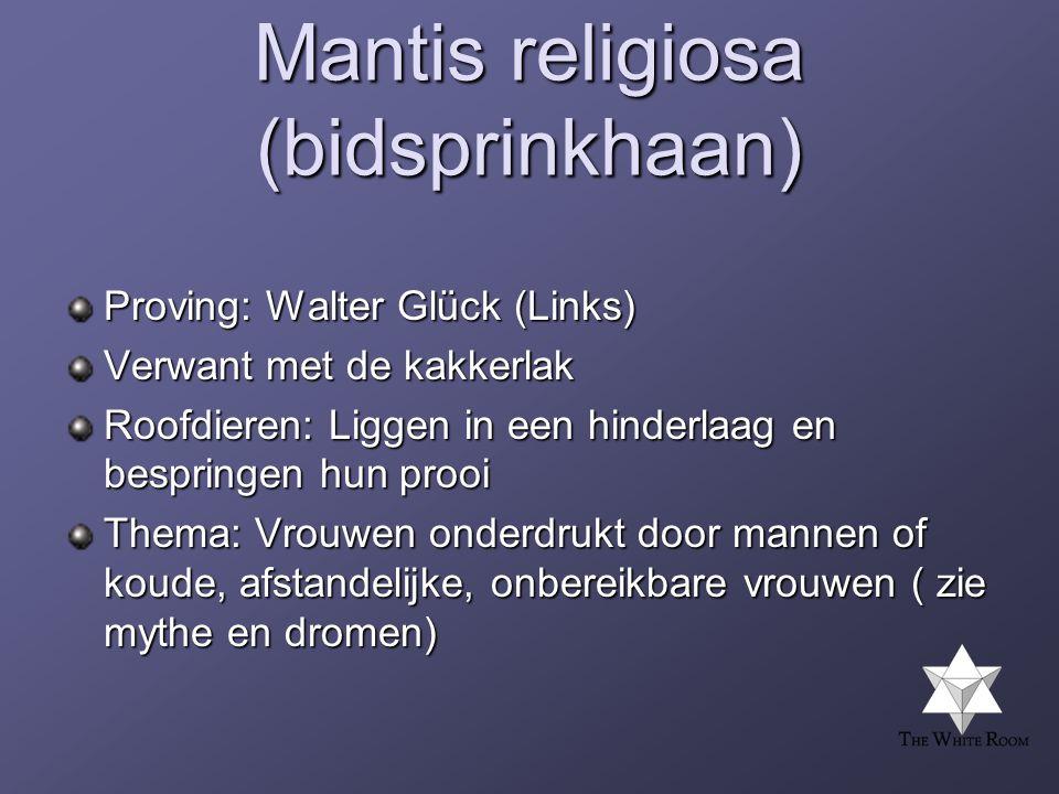 Mantis religiosa (bidsprinkhaan) Proving: Walter Glück (Links) Verwant met de kakkerlak Roofdieren: Liggen in een hinderlaag en bespringen hun prooi Thema: Vrouwen onderdrukt door mannen of koude, afstandelijke, onbereikbare vrouwen ( zie mythe en dromen)