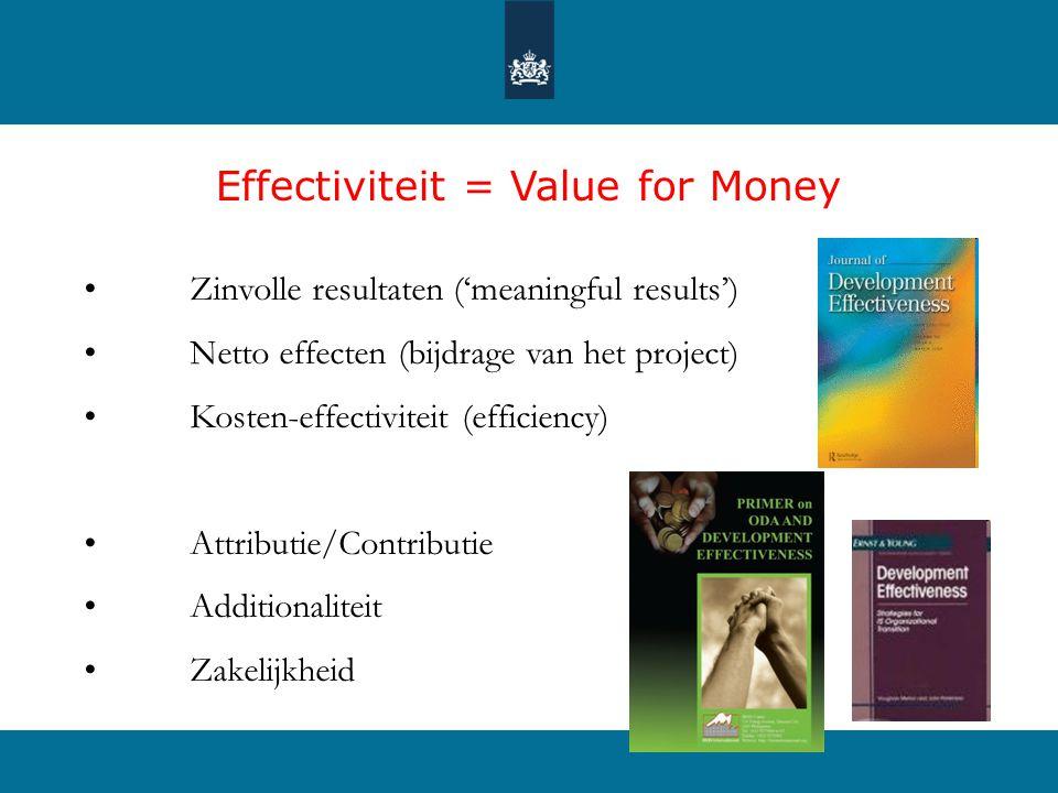 Effectiviteit = Value for Money • Zinvolle resultaten ('meaningful results') • Netto effecten (bijdrage van het project) • Kosten-effectiviteit (efficiency) • Attributie/Contributie • Additionaliteit • Zakelijkheid