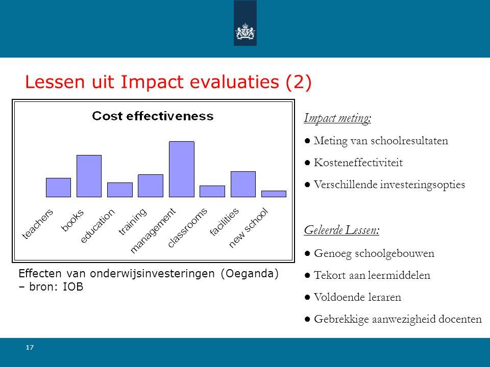 17 Lessen uit Impact evaluaties (2) Impact meting: ● Meting van schoolresultaten ● Kosteneffectiviteit ● Verschillende investeringsopties Geleerde Les