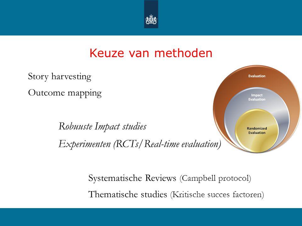 Keuze van methoden Story harvesting Outcome mapping Robuuste Impact studies Experimenten (RCTs/Real-time evaluation) Systematische Reviews (Campbell protocol) Thematische studies (Kritische succes factoren)