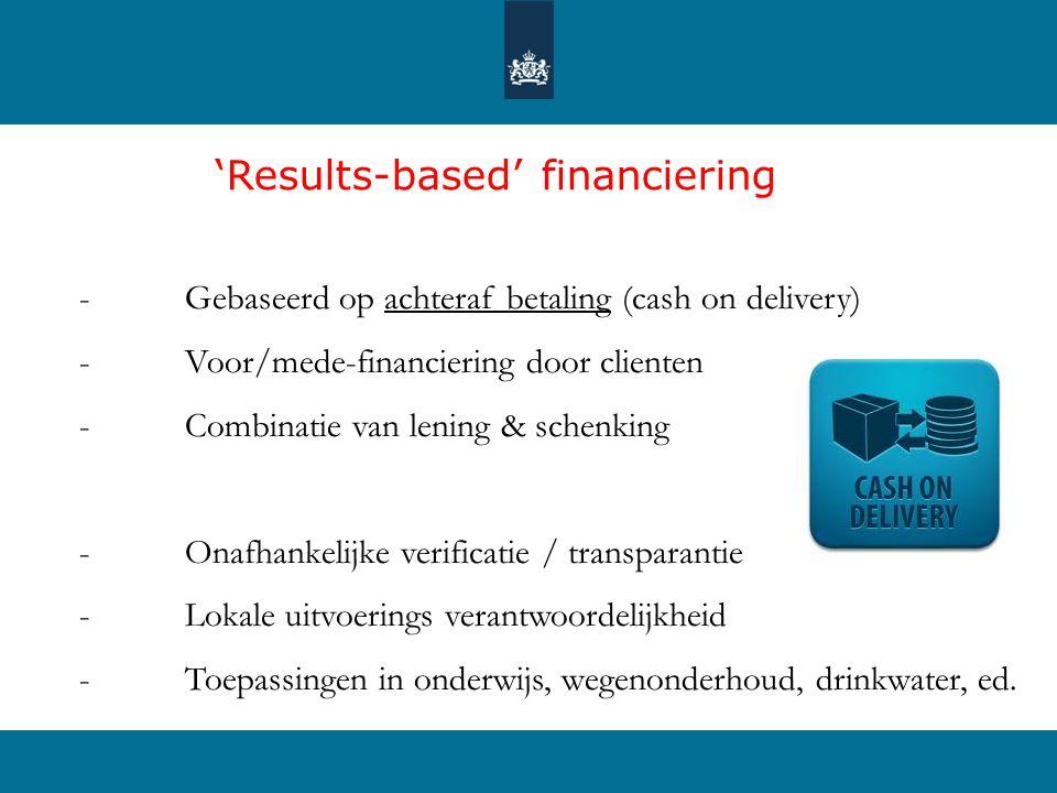 'Results-based' financiering - Gebaseerd op achteraf betaling (cash on delivery) - Voor/mede-financiering door clienten - Combinatie van lening & schenking - Onafhankelijke verificatie / transparantie - Lokale uitvoerings verantwoordelijkheid - Toepassingen in onderwijs, wegenonderhoud, drinkwater, ed.