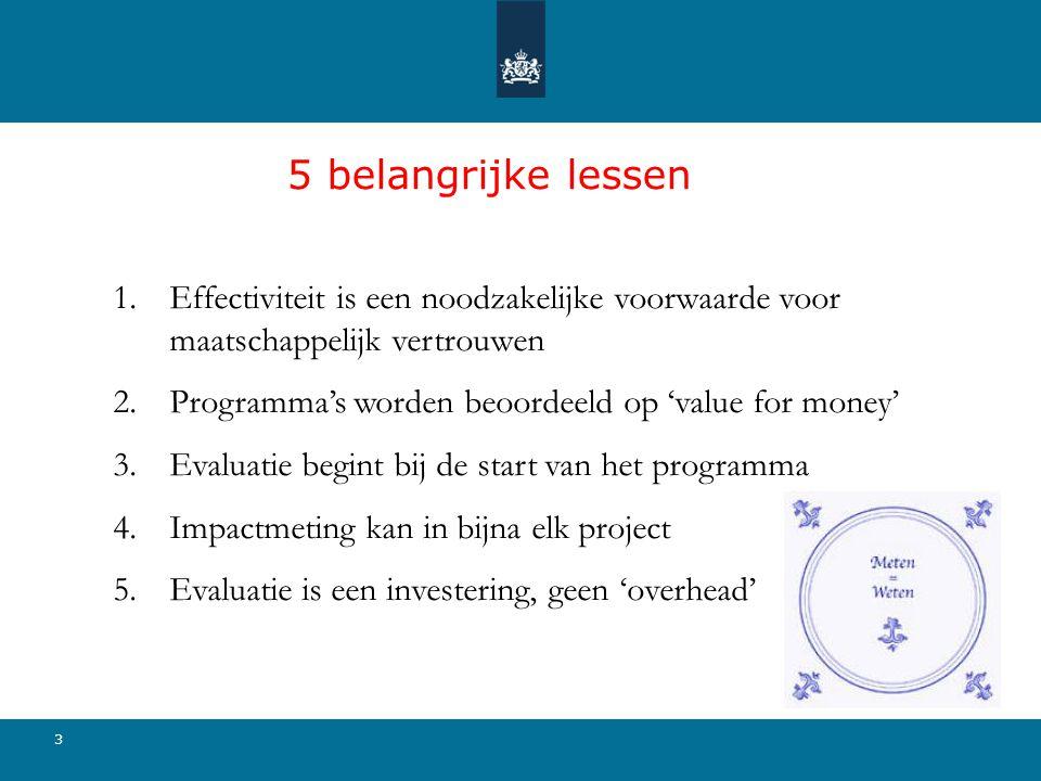 5 belangrijke lessen 3 1.Effectiviteit is een noodzakelijke voorwaarde voor maatschappelijk vertrouwen 2.Programma's worden beoordeeld op 'value for money' 3.Evaluatie begint bij de start van het programma 4.Impactmeting kan in bijna elk project 5.Evaluatie is een investering, geen 'overhead'