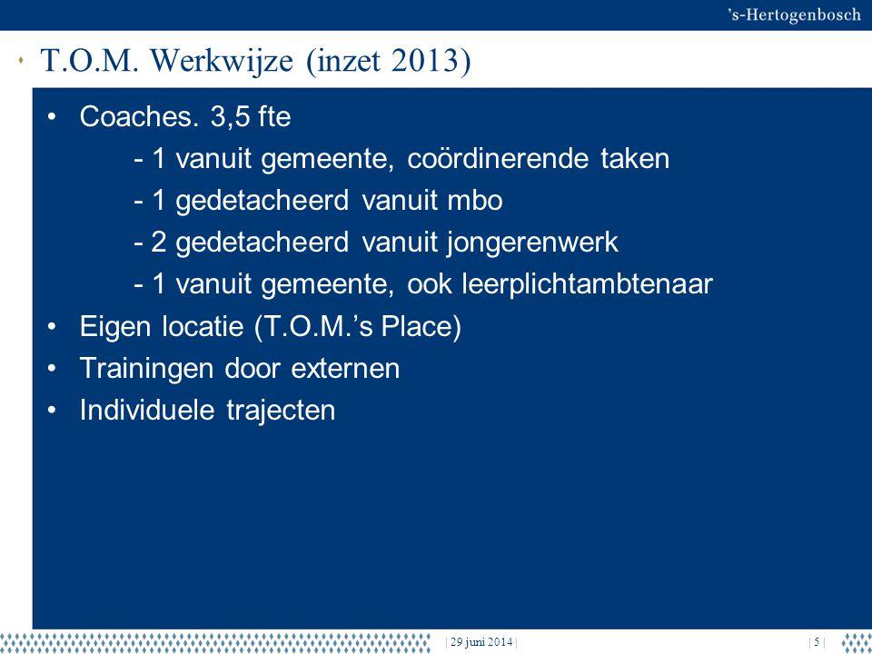 T.O.M. Werkwijze (inzet 2013) •Coaches.