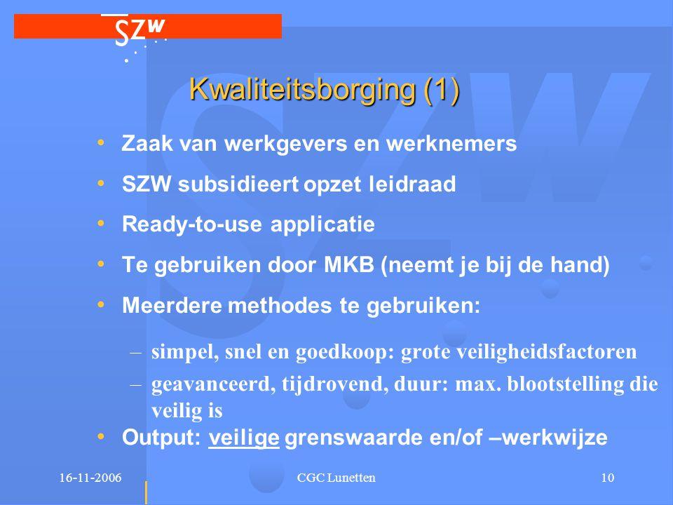 16-11-2006CGC Lunetten10 Kwaliteitsborging (1) • Zaak van werkgevers en werknemers • SZW subsidieert opzet leidraad • Ready-to-use applicatie • Te geb