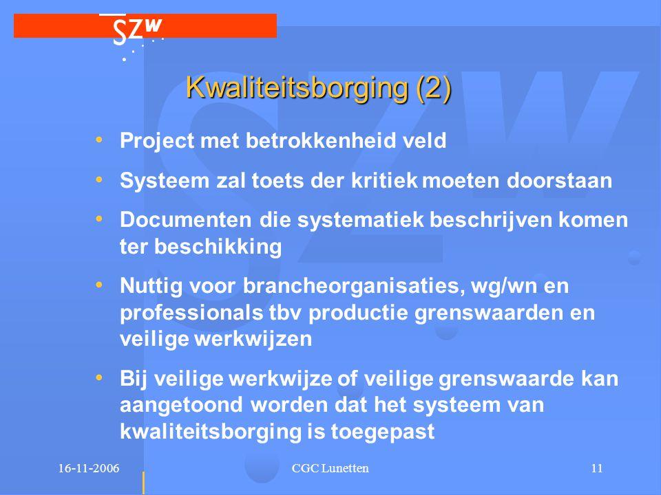 16-11-2006CGC Lunetten11 Kwaliteitsborging (2) • Project met betrokkenheid veld • Systeem zal toets der kritiek moeten doorstaan • Documenten die syst