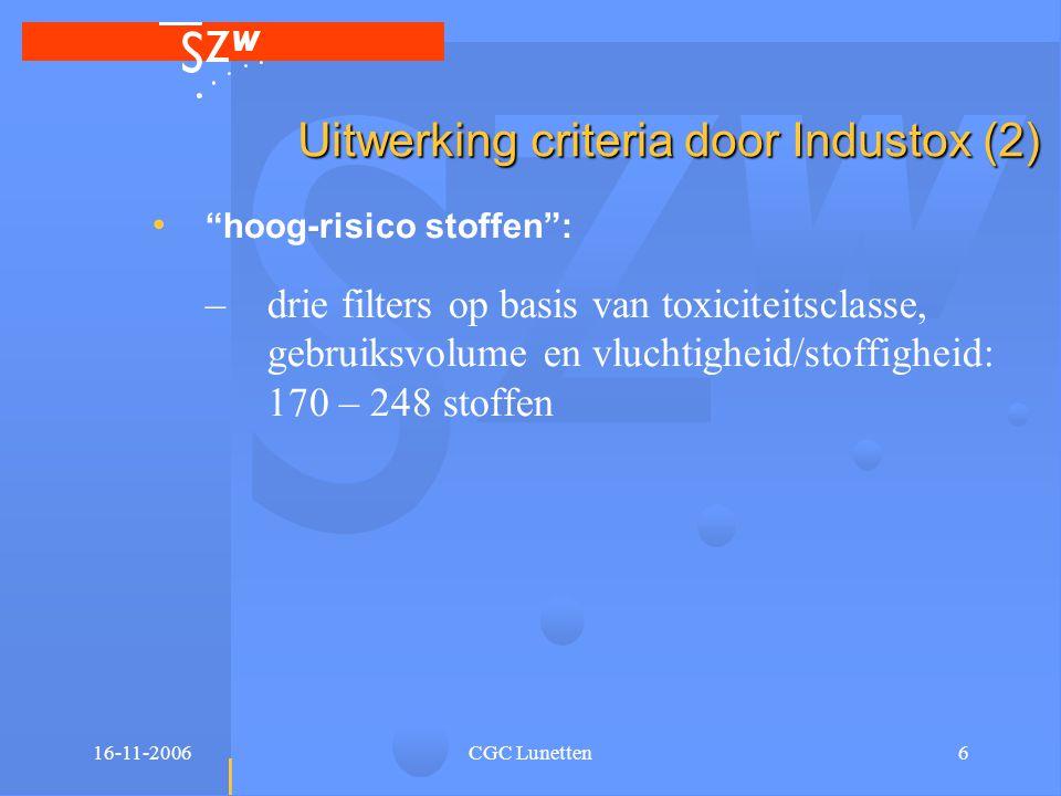 16-11-2006CGC Lunetten7 Uitwerking criteria door Industox (3) • operationalisering criterium stoffen zonder eigenaar én met groot gezondheidsrisico: –combinatie eigenaars filters met hoog-risico filters: variatie van 98 – 117 stoffen