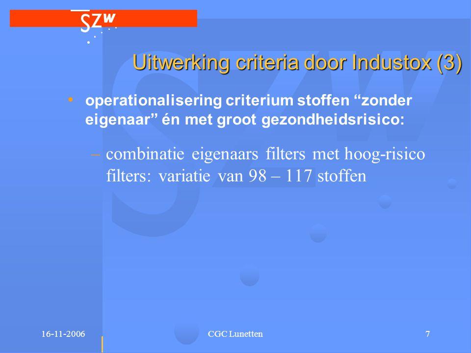 """16-11-2006CGC Lunetten7 Uitwerking criteria door Industox (3) • operationalisering criterium stoffen """"zonder eigenaar"""" én met groot gezondheidsrisico:"""