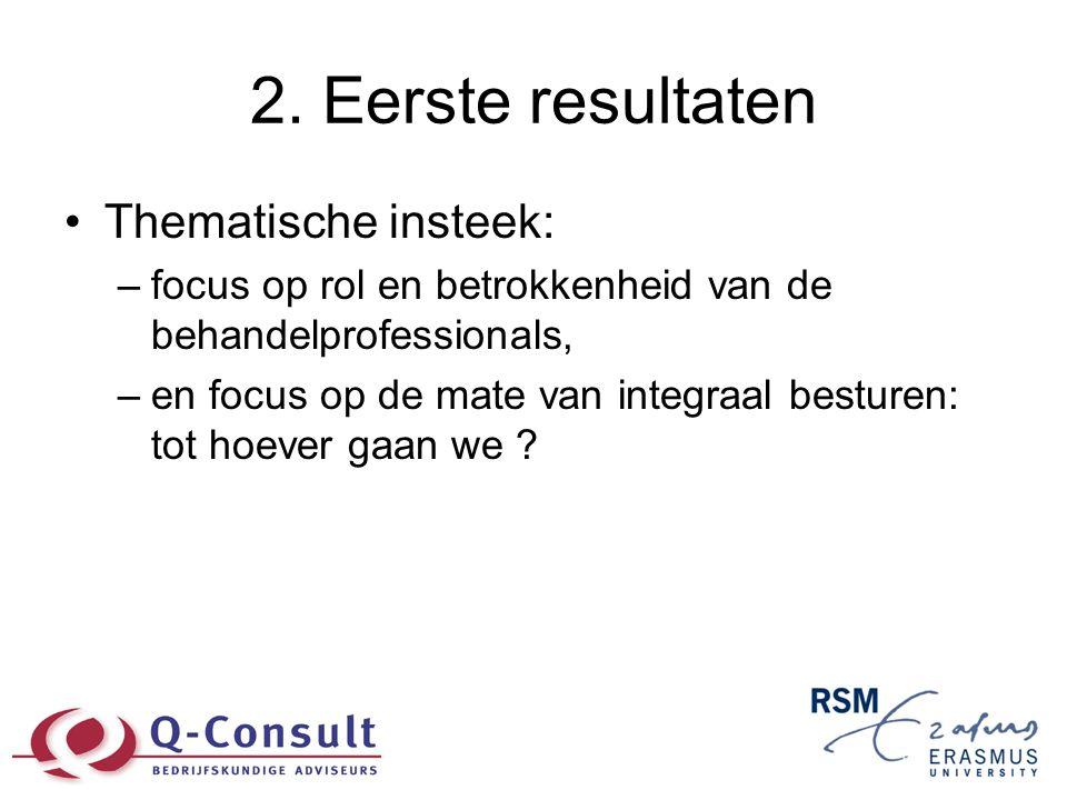 2. Eerste resultaten •Thematische insteek: –focus op rol en betrokkenheid van de behandelprofessionals, –en focus op de mate van integraal besturen: t
