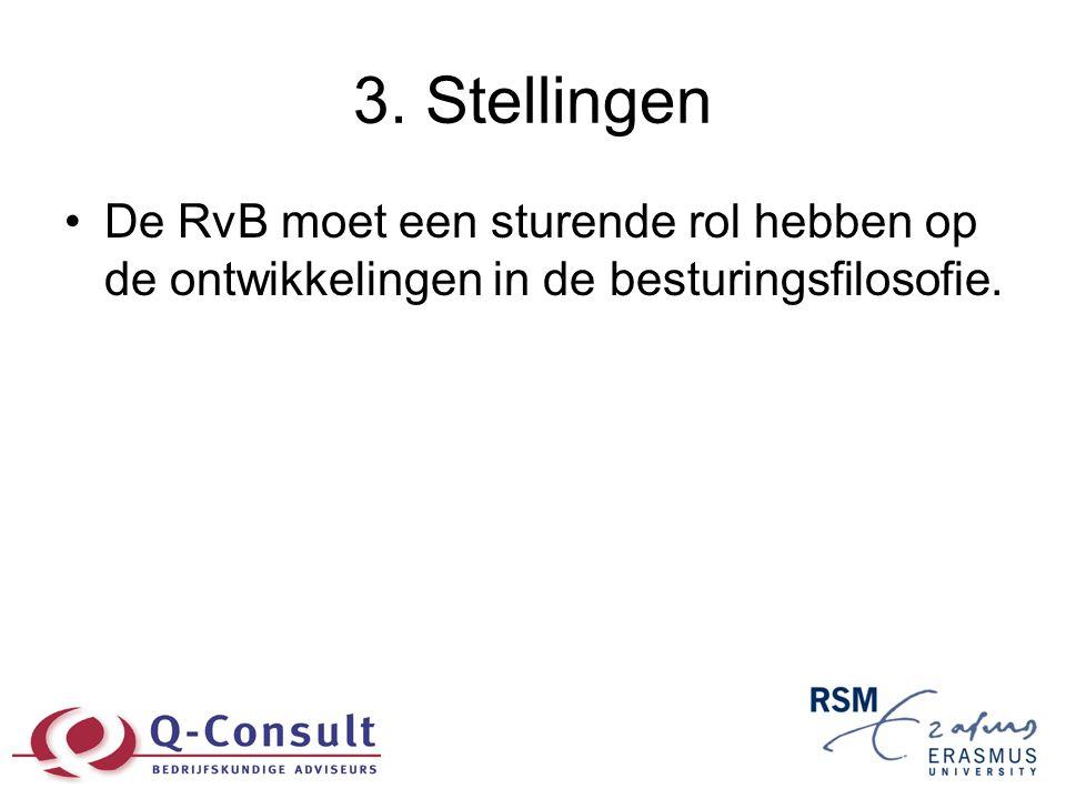 3. Stellingen •De RvB moet een sturende rol hebben op de ontwikkelingen in de besturingsfilosofie.