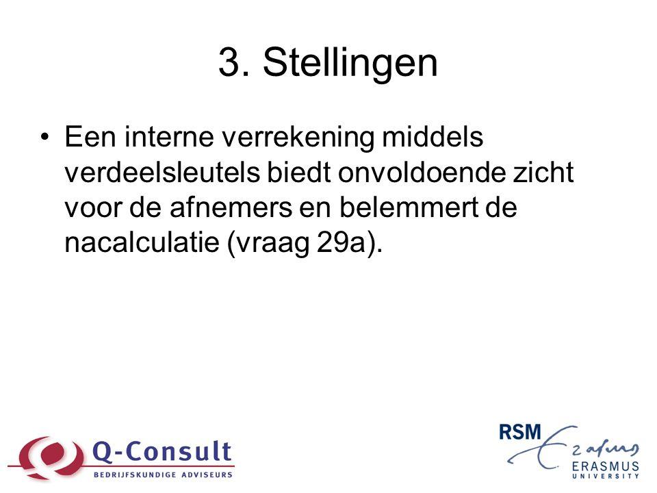 3. Stellingen •Een interne verrekening middels verdeelsleutels biedt onvoldoende zicht voor de afnemers en belemmert de nacalculatie (vraag 29a).